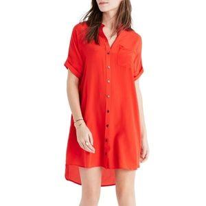 Madewell Button Down Red Silk Shirt Dress